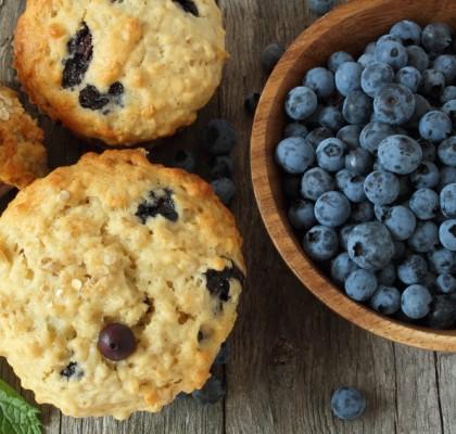 Rezept für Hafer-Blaubeermuffins ohne Zucker