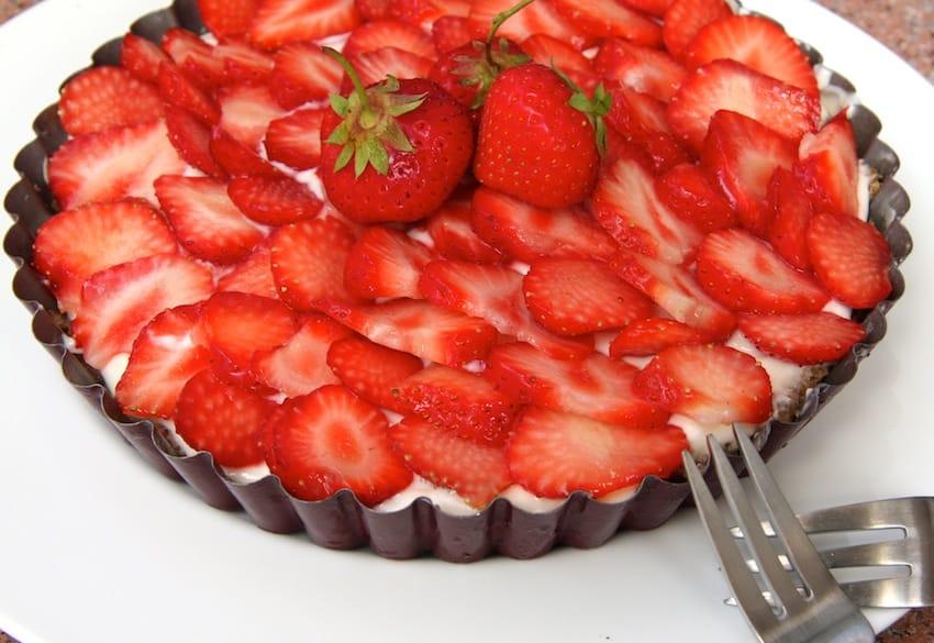 Zuckerfreie Erdbeer-Tarte